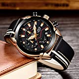Watches for Men,LIGE Chronograph Waterproof Sports Analog Quartz Watch Gents Fashion Dress Wrist Watch