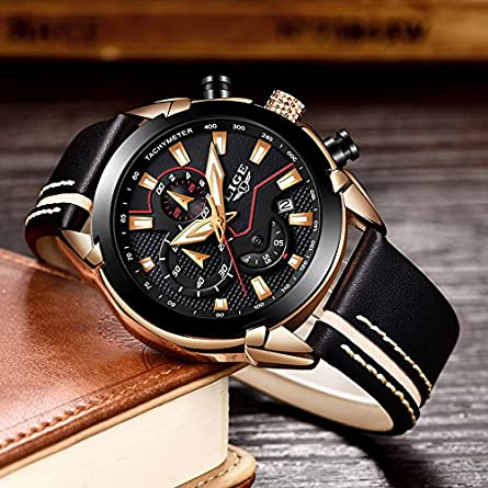 LIGE Mens Watches Chronograph Waterproof Sports Analog Quartz Watch Gents Fashion Dress Wrist Watch