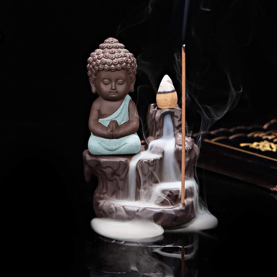 Blue MORER Ceramic Backflow Incense Burner Incenser Holder Home Decor Aromatherapy Ornament 10 Backflow Incense Cones.
