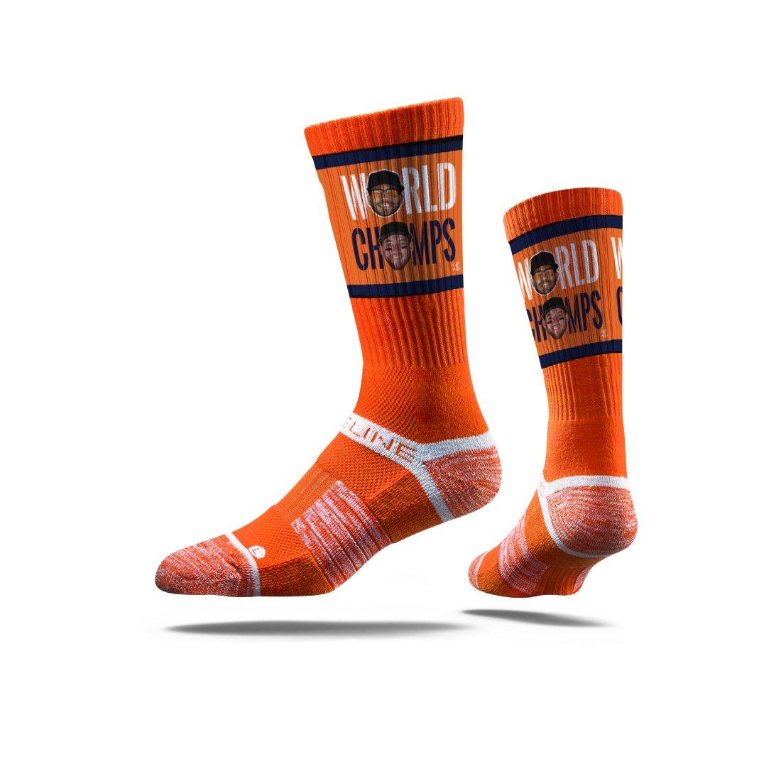 Strideline MLB PA Houston Astros Jose Altuve/George Springer Premium Crew Socks, Orange, One Size