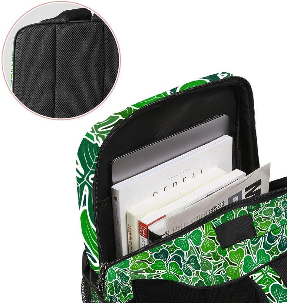 Clover Leaves Green Pictogram Plants School Backpack Laptop Backpacks Casual Bookbags Daypack for Kids Girls Boys and Women