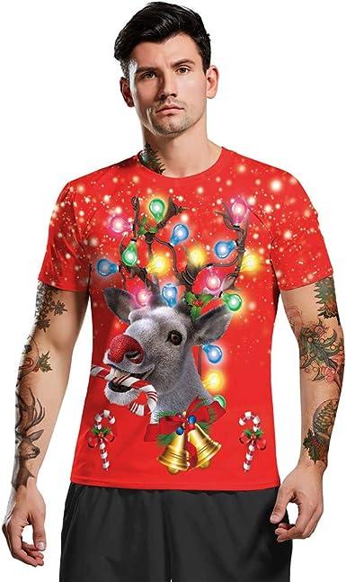 CLOOM Navidad Camiseta De Parejas Casual 3D Original Impresión Tops Manga Corta Blusa Moda Unisex Cuello Redondo Camisa Divertido T Shirt Navideño Fiesta Nochebuena: Amazon.es: Ropa y accesorios