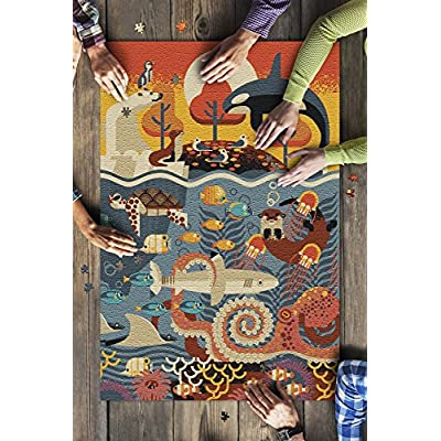 Marine Animals - Textured Geometric (Premium 1000 Piece Jigsaw Puzzle for Adults, 20x30, Made in USA!): Toys & Games