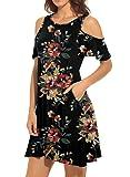 QIXING Women's Summer Cold Shoulder Floral Print