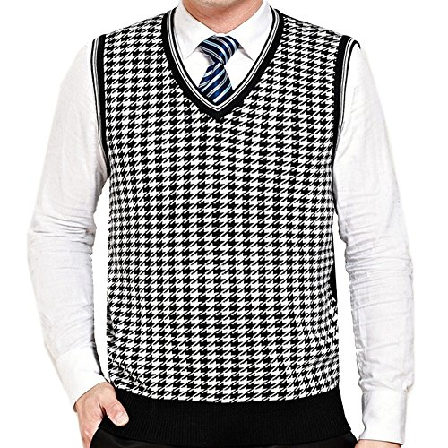 G-LIFE Men Classic Houndstooth Pullover V-Neck Fit Sweater Vest (S ...