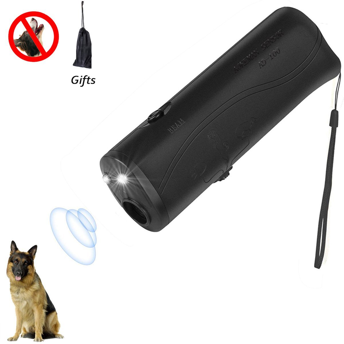 Believeee Dog Barking Stop 3 in 1 Anti Ultrasonic Dog Repeller Bark Handheld Dog Trainer Device Safe Pet Training Devices (Black)