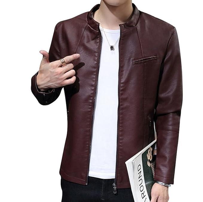 Sronjn Hombre Otoño PU Cuero De Abrigos De Moda para Chaqueta Jacket Slim Fit Casual Vino