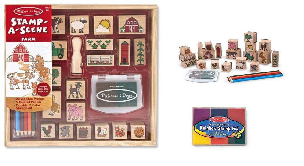 Melissa & Doug Wooden Stamp Set Bundle - Stamp a Scene - Farm with Bonus Rainbow Stamp Pad