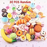 30 Pcs Random Kawaii Mini Soft Squishy Foods Panda Bread Bun Toasts Multi Donuts Phone Straps Charm Kids Toy Gift