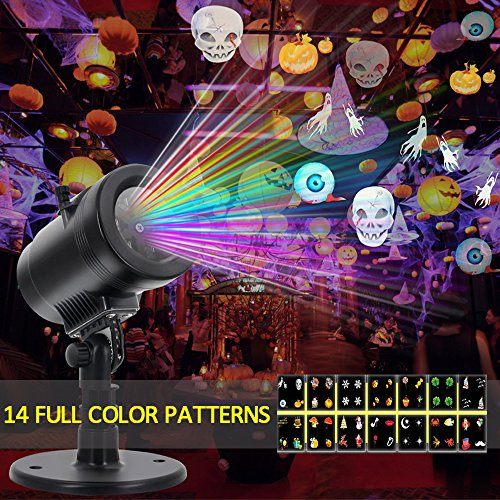 Halloween Projector Light, 14 Slides Switchable Patterns Lens Waterproof Moving Rotating Projector Indoor and Outdoor Use Led Projector Light Show for Halloween, Party, Holiday Decoration