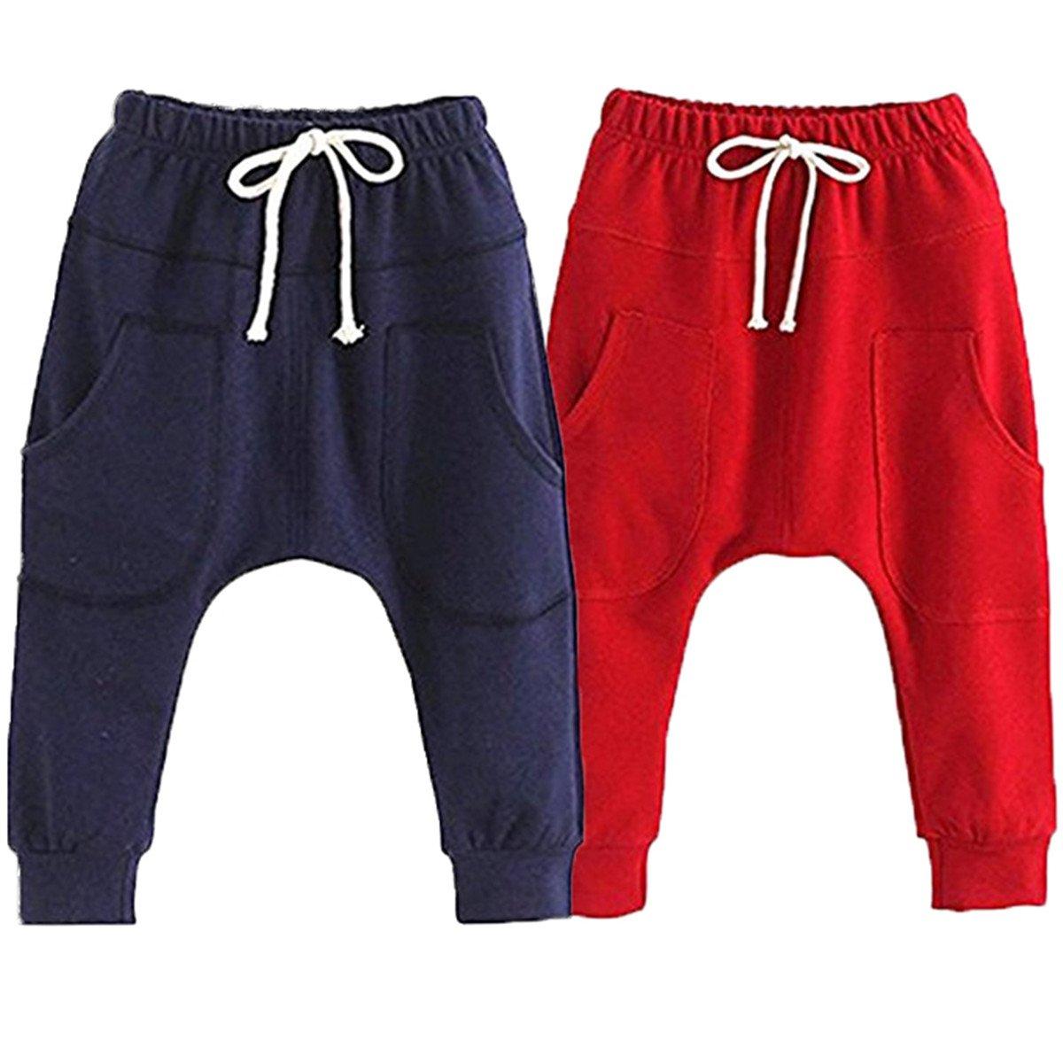 Little Baby Boys Girls 2 Pack Of Cotton Hiphop Harem Pants Infant Sport Jogger 3T-4T  Pants-b