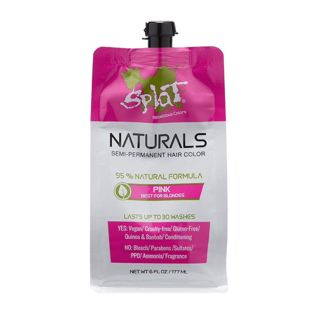 Amazon Com Splat Naturals Semi Permanent Pink Hair Dye 100 Vegan Cruelty Free No Bleach Required Free Of Ammonia Ppd Parabens Sulfates 6 Oz Beauty