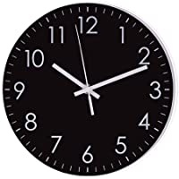 Epy Huts Modern Simple Wall Clock,Indoor Non-Ticking Silent Quartz Quiet Sweep Movement Wall Clock for Office,Bathroom,Living Room Decorative 10 Inch