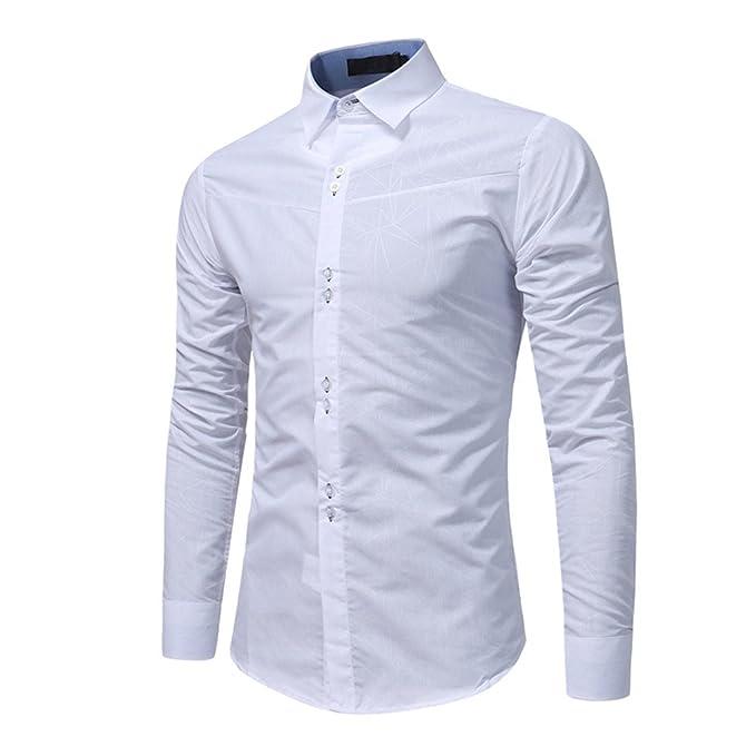 Camicia Uomo LandFox Slim Fit Morbida Tinta Unita Collare Stand Standar  Maniche Lunghe Regular Fit Camicia bae5accbb6d