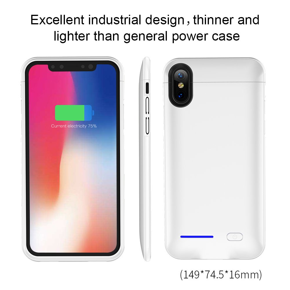 iPhone X Battery Case, Slim Rechargeable Extended Protective Battery Bank Charging Case With Magnet Kickstand for iPhone X/iPhone10(5.8 inch)– 4000mAh (Include Car Holder Magnet) (White)