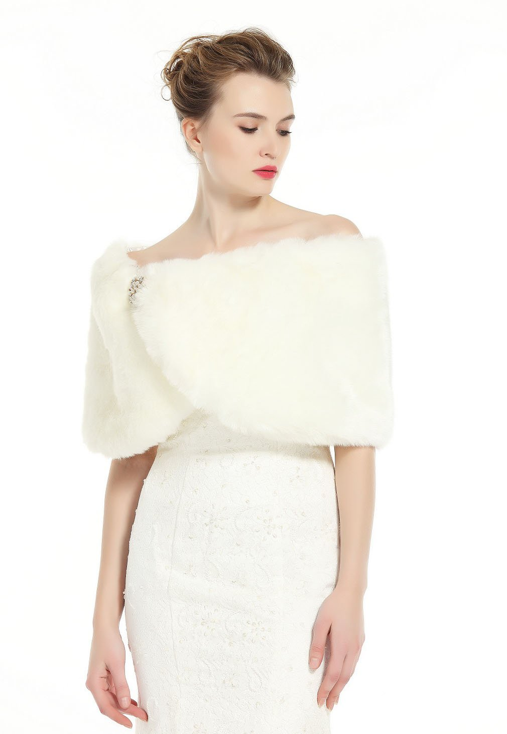 Faux Fur Wrap Shawl Women's Shrug Bridal Stole for Winter Wedding Party Free Brooch Ivory by BEAUTELICATE (Image #3)