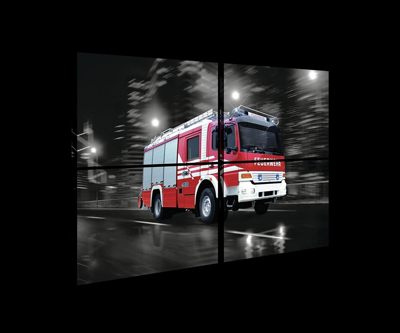 Welt-der-TräumeWANDBILD SET CANVASBILD SET SET SET Wandbild Leinwandbild Kunstdruck Canvas   Rasendes Feuerwehrwagen   S10 (120cm. x 80cm. (4x60x40))   Canvas Picture Print PS20244S10-MS   Feuerwehr Feuerwehrauto Wagen Rot Brand f40a39
