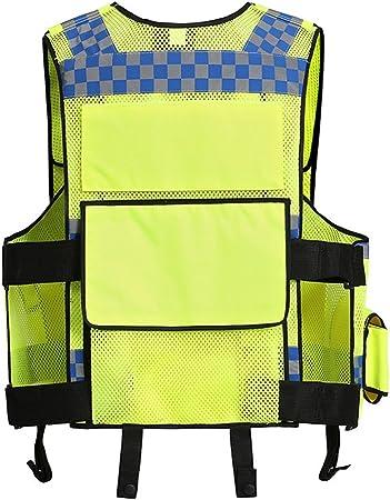 Warnschutz-Weste mit Rei/ßverschluss vorne mit Taschen und reflektierenden Streifen Hi-Vis-Sicherheitsjacke Ultraleicht f/ür den BAU von Radfahrern im Baugewerbe SQER Reflektierende Sicherheitsweste