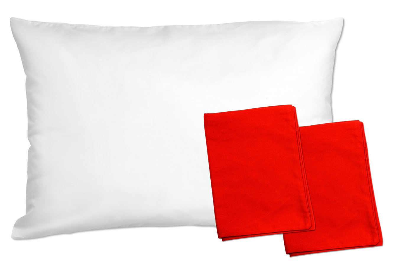 ZadisonJaxx ZacharyPaul Collection 2 Pack Machine Washable 2 Red Toddler Pillowcases For Pillows Sized 13x18 and 14x19-100/% Cotton With Percale Weave Envelope Style