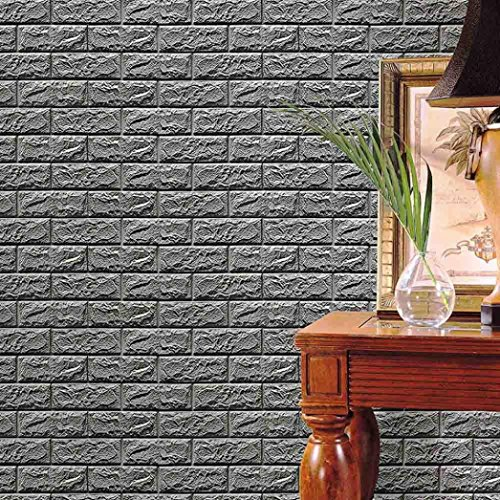 Wall Stickers, Witspace Wall Sticker PE Foam 3D Wallpaper DIY Wall Stickers Wall Decor Embossed Brick Stone Background Wall Art Stickers (Gray)