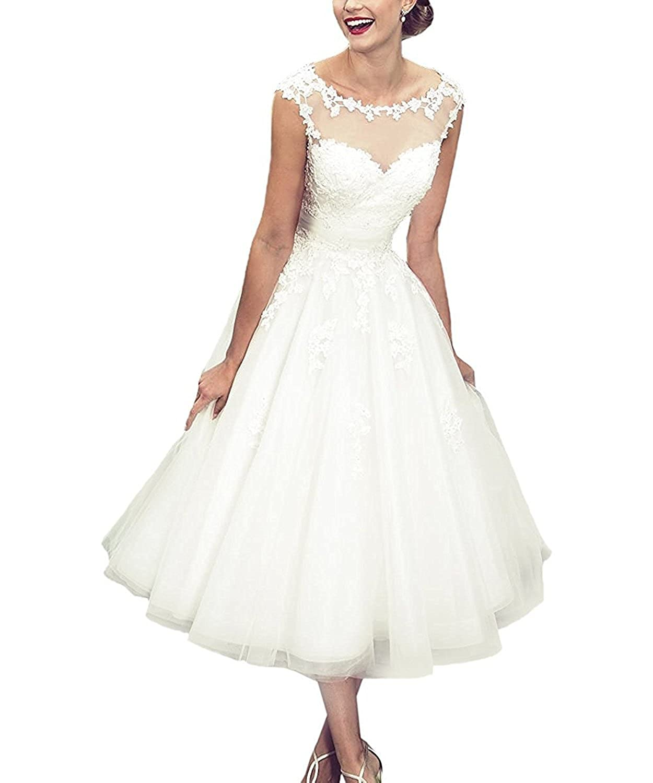 Modeldress Womens Short Lace Wedding Dresses Corset Back Tea Length