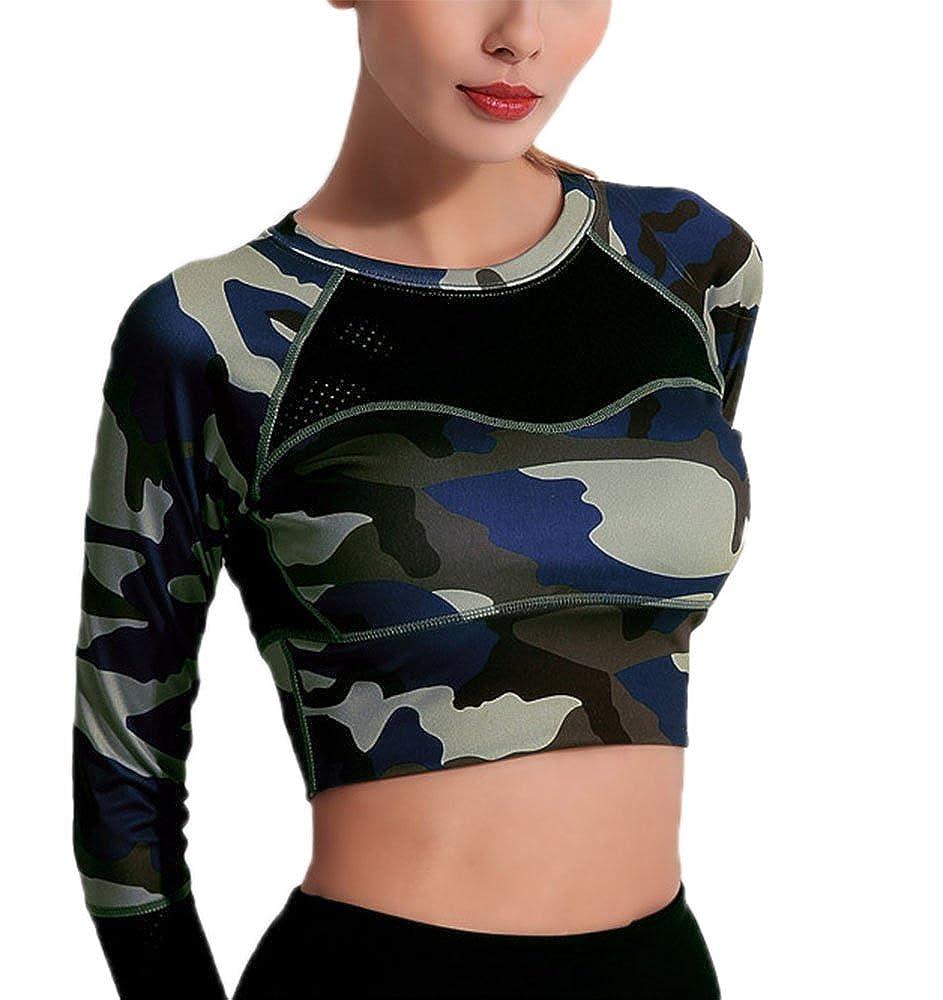 Huateng Camouflage Sport-Oberteile, Damen-Oberteile Activewear Sport-T-Shirt Sportliche Laufoberteile