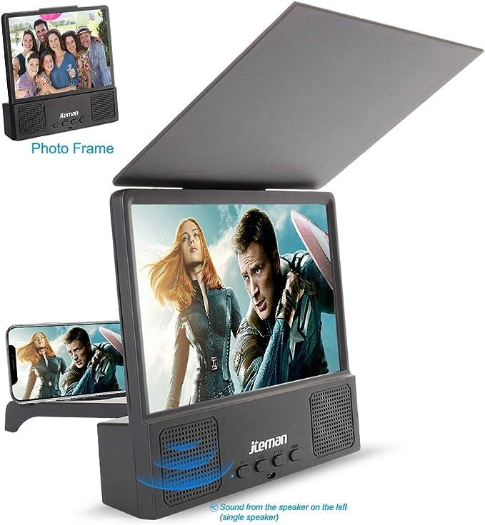 Jteman 5 en 1 Altavoz Bluetooth 3D HD teléfono móvil pantalla lupa ...