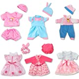 ARTST Doll Clothes,12 inch Baby Doll Clothes[6 Sets](Include 4 Hats + 1 Bowknot ) fit for 10 inch Dolls /11 inch Baby Dolls/