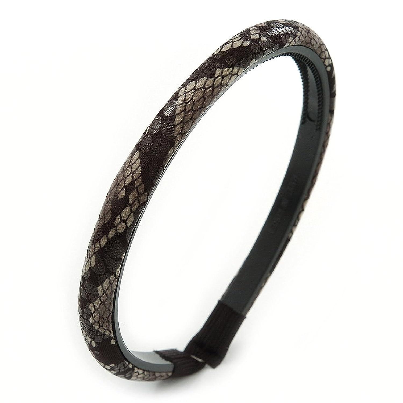 Snake Print Fabric Alice/ Hair Band/ HeadBand (Black/ Grey)