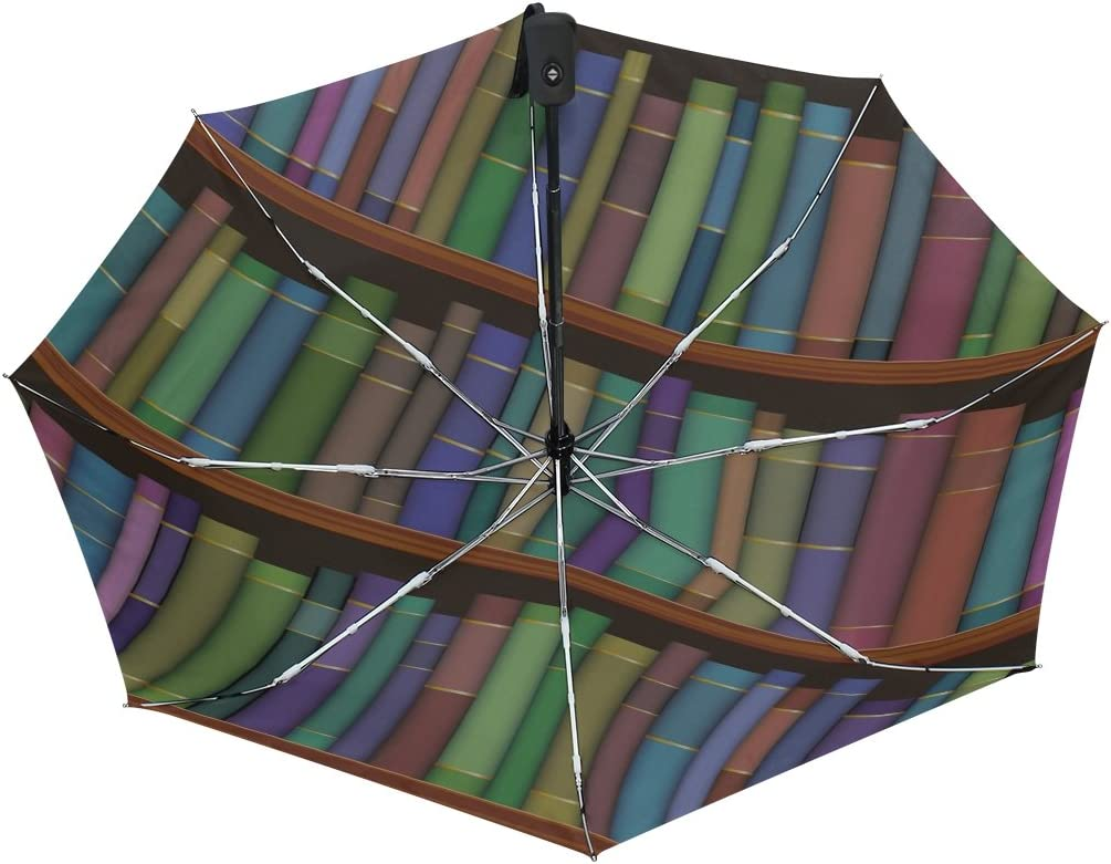GIOVANIOR Library Shelves With Old Books Umbrella Double Sided Canopy Auto Open Close Foldable Travel Rain Umbrellas