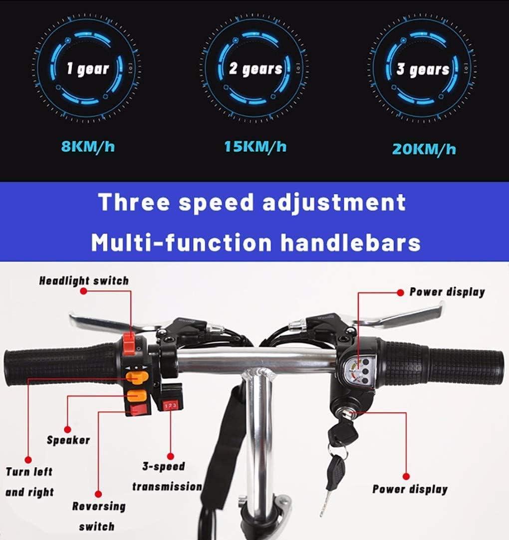 20 Km//H Plegable Ajuste De 3 Velocidades Discapacitados Qfzfei Scooter Minusvalidos,Scooter El/éctrico de 3 Ruedas Motor De 300 W Adecuado for Personas Mayores Size : 30KM Adultos