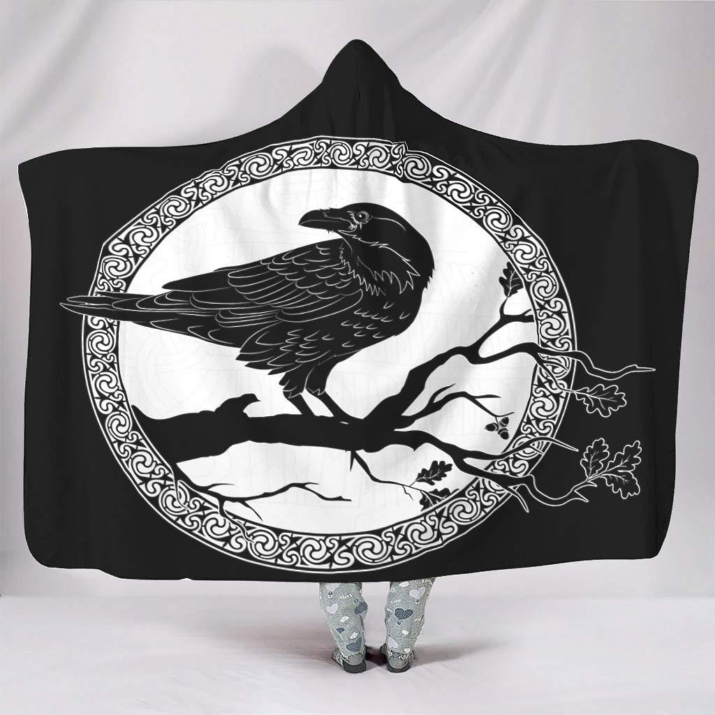 Ethnic Black Raven on Tree Branch Sketched Viking Rune Keltic Circle of Scandinavian Runes Tattoo Norse Mythology Print Hooded Blankets Cozy Super Soft Warm Winter Sherpa Fleece white 50x60 inch