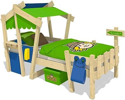 WICKEY Cuna CrAzY Candy Cama para niños Cama infantil 90x200cm con somier de madera, azul-verde manzana