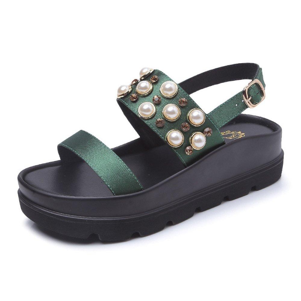 SBL Estate spiaggia scarpe da spiaggia femminile stile bohemien fondo pesante antiscivolo moda casual sandali romani,verde,38  verde