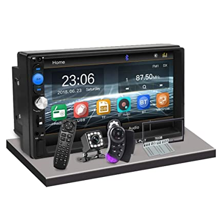 "amazon com carthree bluetooth car stereo 7"" touch mirrorlink doubleamazon com carthree bluetooth car stereo 7\"" touch mirrorlink double din car stereo for subwoofer mp5 player autoradio bluetooth rear view camera tape"