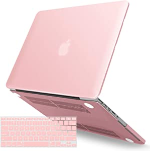 IBENZER MacBook Pro 13 Inch Case 2015 2014 2013 end 2012 A1502 A1425, Hard Shell Case with Keyboard Cover for Old Version Apple Mac Pro Retina 13, Rose Quartz, R1301RQ+1 N