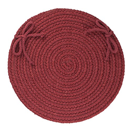 Solid Wool Chair Pad, Red Wine from RRI Home Decor