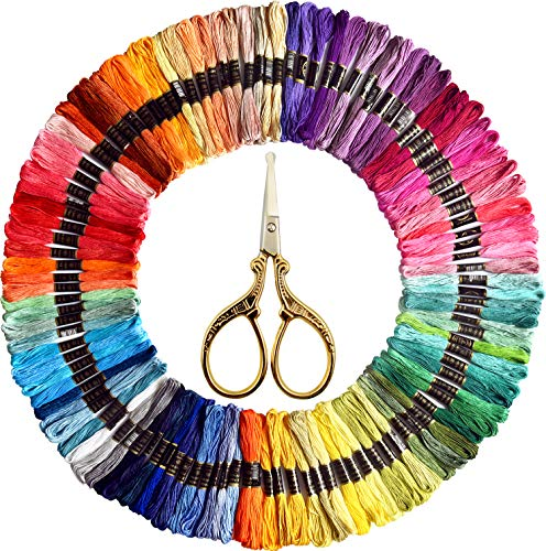 Embroidery Floss- Friendship Bracelets String – Cross Stitch Threads- Crafts Floss – Rainbow dmc Color Floss 110 Skeins and Free Set of Gold Sewing &Needlework Scissors Stainless Steel