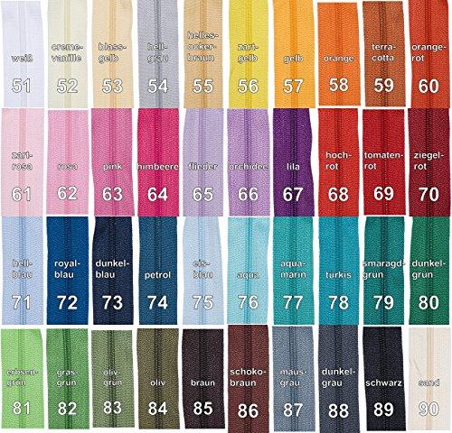 5 m Reißverschluss endlos, 24 mm breit, inklusive 10 Nonlock-Zipper, Auswahl aus 40 Farben / Farbe: 89