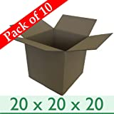 "Large Removal Cardboard Boxes - Pack of 10 - 20 x 20 x 20"" - Double Wall"