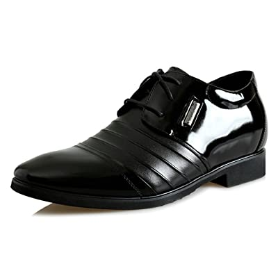 2.36 Inches Taller-Genuine Leather men high heel shoes Derby Formal Business Wedding Shoes