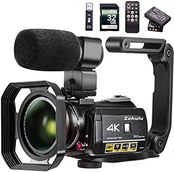 Amazon.com: Cámara de vídeo 4K ZOHULU WiFi Ultra HD cámara ...