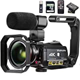 Video Camera 4K Camcorder ZOHULU WiFi Ultra HD Vlog Camera for YouTube, 3.1'' IPS Screen 30X Digital Zoom Night Vision Video