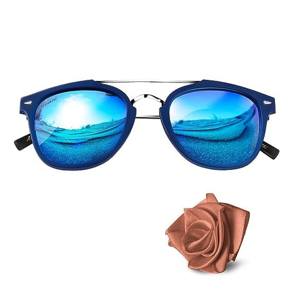 Aiblii Mirror Lens UV400 Retro Unisex Lunettes de soleil polarisées - Vintage Wayfarer Lunettes de soleil pour hommes et femmes m6HW96q8BR
