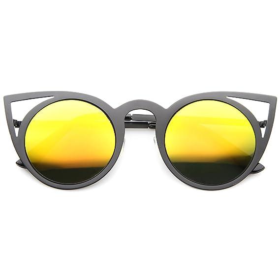 9e122af721b8e zeroUV - Womens Fashion Round Metal Cut-Out Flash Mirror Lens Cat Eye  Sunglasses (