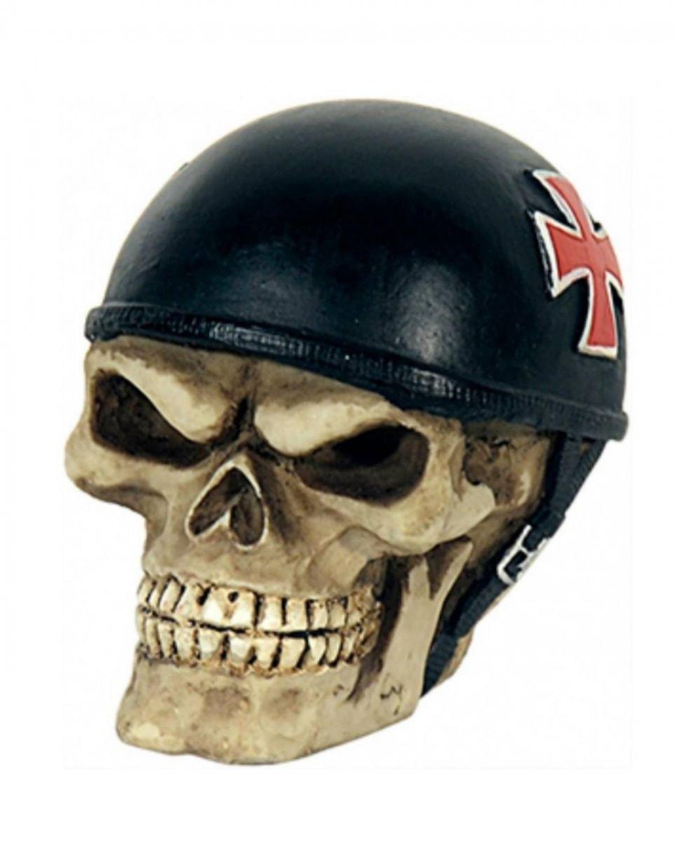 Horror-Shop Schaltknauf Totenkopf mit Helm als Heavy Metal Deko f/ür das Auto