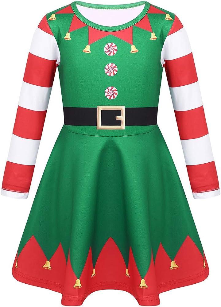 Freebily Disfraz Elfa Duende Niñas de Fiesta Navidad Vestido ...