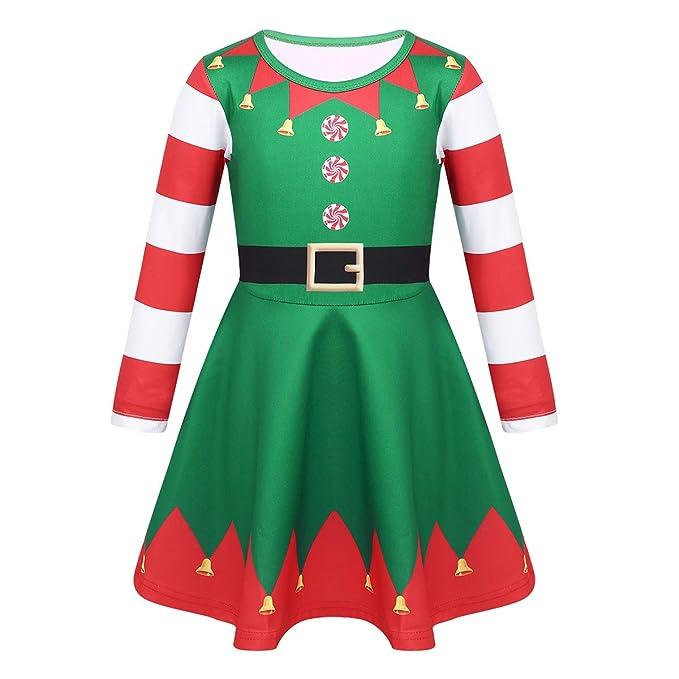 inhzoy Vestido de Duende Elfo para Niñas Vestido Navideño de ...