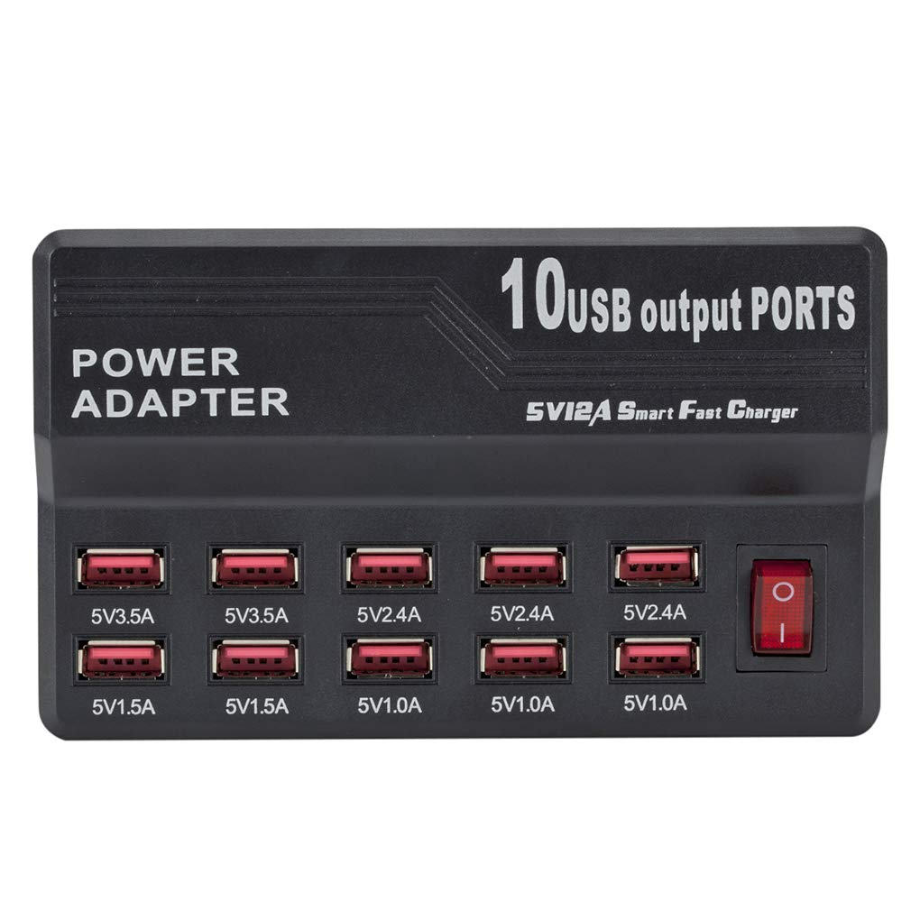 US Plug 12A 12 Port USB Cable Charger HUB Speed Smart Charging Adapter Multi USB Charging Station