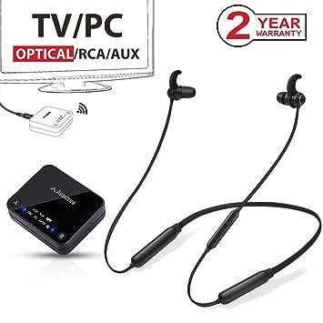 Avantree 2019 HT4186 Audífonos Inalámbricos Banda al Cuello para TV, PC con Transmisor Bluetooth,